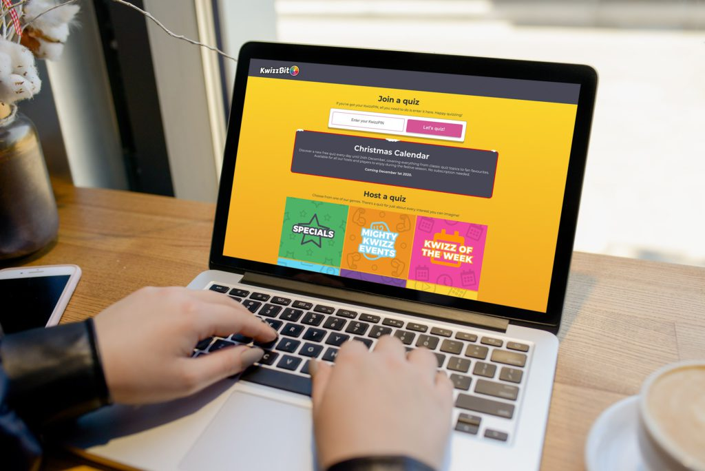 Macbook showing KwizzBit quiz advent calendar on dashboard