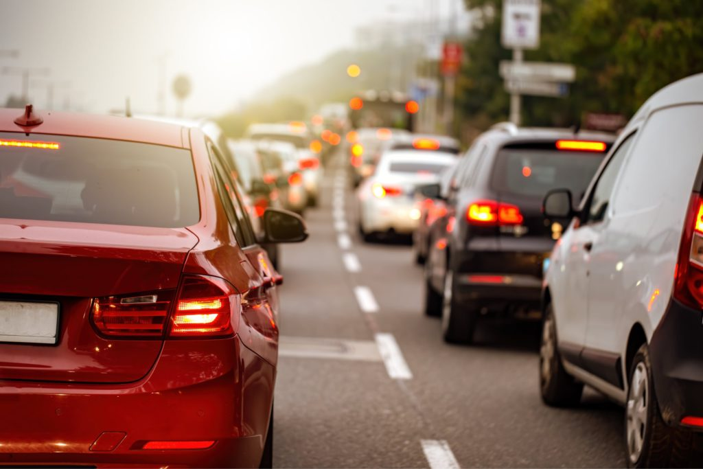 Cars stuck in traffic jam