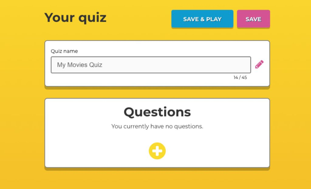 White build a quiz form on yellow background