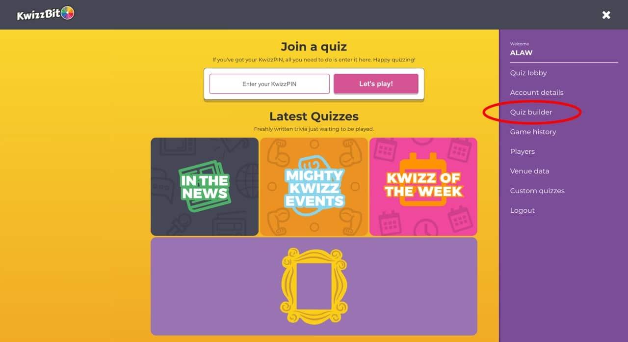 KwizzBit account dashboard yellow background with quiz topic tiles