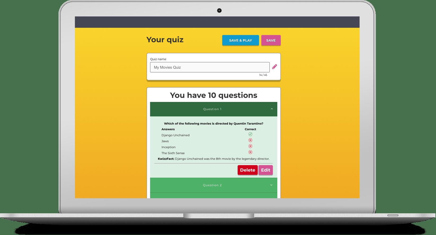 Laptop showing quiz builder